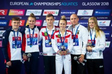 Shleikher Nikita RUS Timoshinina Iuliia RUS gold medal, Lee Matthew GBR Toulson Lois GBR silver medal, Fandler Florian GER Wassen Christina GER bronze medal Mixed 10m synchronized platform final Edinburgh 11/08/18 Diving Royal Commonwealth Pool LEN European Aquatics Championships 2018 European Championships 2018 Photo Giorgio Perottino / Deepbluemedia /Insidefoto