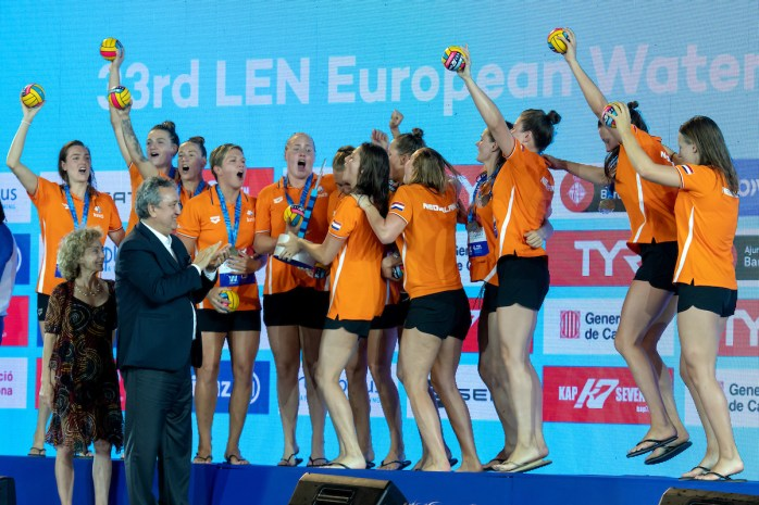 NETHERLANDS Champions of Europe Gold Medal NED - GRE Netherlands (white caps) vs. Greece (blue caps) Barcelona 27/07/2018 Piscines Bernat Picornell Women Final 1st 2nd place 33rd LEN European Water Polo Championships - Barcelona 2018 Photo Andrea Staccioli/Deepbluemedia/Insidefoto