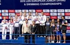 (L to R) RUSSIA, GERMANY, ITALY 4x100 freestyle relay mixed Medal ceremony LEN European Swimming Junior Championships 2019 Aquatic Palace Kazan Day2 04/07/2019 Photo G.Scala/Deepbluemedia/Insidefoto
