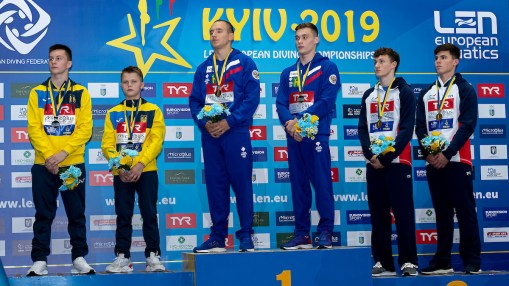 (L to R) SERBIN OLEH, SEREDA OLEKSIIUKR Ukraina silver medal, BELEVTSEV ALEKSANDR, SHLEIKHER NIKITA RUS Russia Gold Medal, DIXON MATTHEW, WILLIAMS NOAH GBR Great Britain Bronze medal Kyiv, Ukraine UKR 08/08/2019 Diving 10 meter platform synchro men podium Len European Diving Championships 2019 Sport Arena Liko Kyiv, Ukraine Photo © Giorgio Scala / Deepbluemedia / Insidefoto