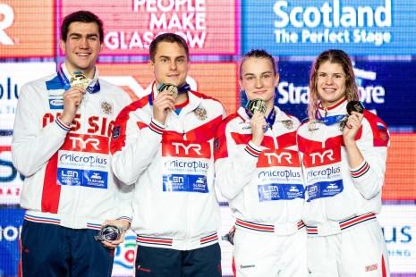Team Russia Gold Medal 4x50 medley relay mixed Final Glasgow 05/12/2019 XX LEN European Short Course Swimming Championships 2019 Tollcross International Swimming Centre Photo Giorgio Scala / Deepbluemedia / Insidefoto