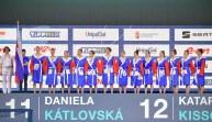 Team SVK Slovakia Budapest 17/01/2020 Duna Arena SVK - Slovakia (white caps) Vs. SRB - Serbia (blue caps) Women XXXIV LEN European Water Polo Championships 2020 Photo ©Pasquale Mesiano / Deepbluemedia / Insidefoto
