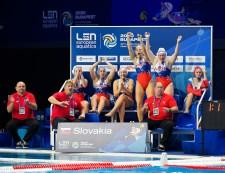 Team SLK Slovakia Budapest 17/01/2020 Duna Arena SVK - Slovakia (white caps) Vs. SRB - Serbia (blue caps) Women XXXIV LEN European Water Polo Championships 2020 Photo ©Pasquale Mesiano / Deepbluemedia / Insidefoto
