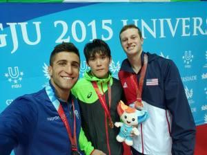 Christopher Ciccarese - podio 100 dorso - Universiadi 2015