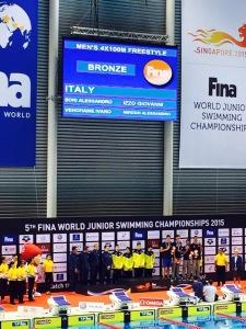 I BRONZI DELLA 4x100 STILE LIBERO! Alessandro Miressi, Ivano Vendrame, Giovanni Izzo e Alessandro Bori! Ph.Alessandro Brosco.