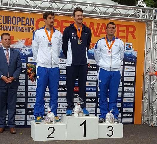 Hoorn 2016-podio 25 km - con Matteo Furlan e Edoardo Stochino- PH. E.Stochino