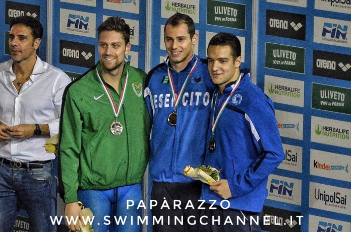 Podio 50 farfalla - Assoluti Invernali 2016 - Piero Codia, Luca Dotto, Andrea Farru - ph.PapàRazzo - Swimmingchannel.it
