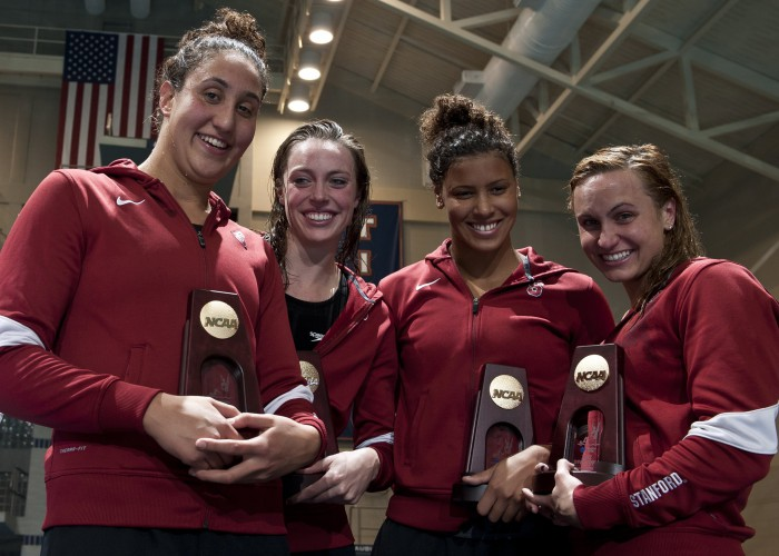 Andi Murez, left, celebrates 400 free relay win at 2012 NCAA championships with Stanford teammates. Photo Courtesy: Peter H. Bick