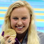 Sep 6, 2012; London, United Kingdom; Jessica Long (USA) collects her gold medal for the women's 100m freestyle S8 final during the London 2012 Paralympic Games at Aquatics Centre. Mandatory Credit: Paul Cunningham-USA TODAY Sports