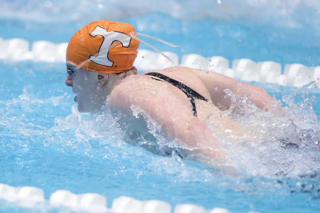 KNOXVILLE, TN - December 5, 2013 - Faith Johnson competes in the 4x100 Yard Medley Relay during the USA Swimming AT&T Winter National Championships at the Allan Jones Aquatic Center in Knoxville, Tennessee