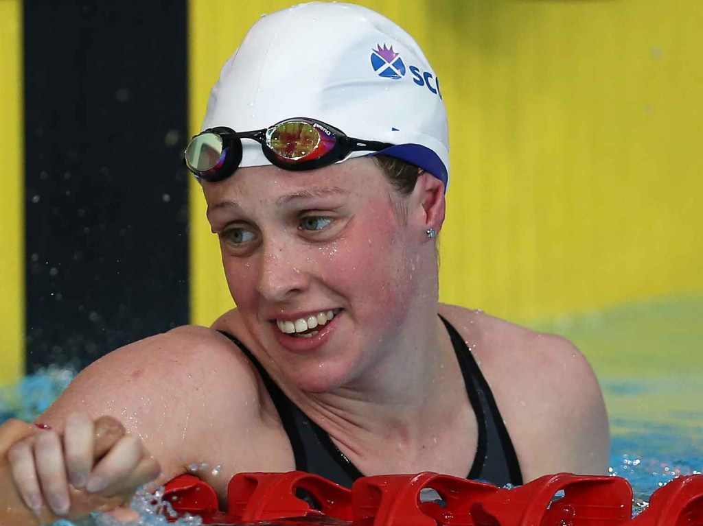 GLASGOW, SCOTLAND - JULY 24: Hannah Miley on her way to a new games record in the Women's 400m IM heats at Tollcross International Swimming Centre on July 24, 2014 in Glasgow, Scotland.(Photo by Ian MacNicol) *** Local Caption ***