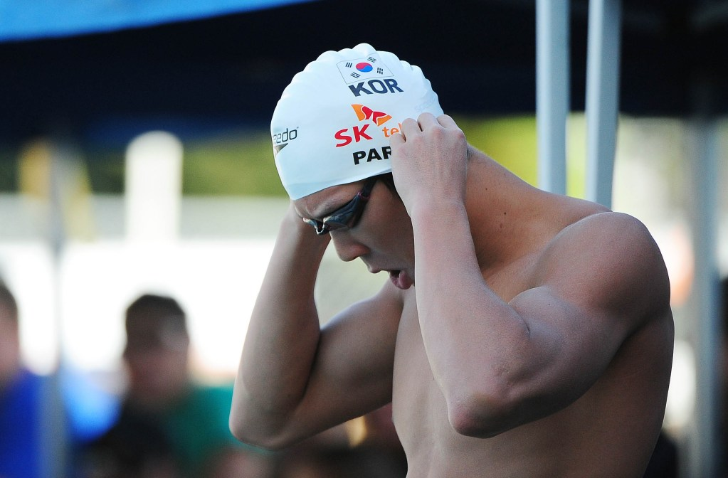 June 18, 2011; Santa Clara, CA, USA; Tae-Hwan Park (KOR) prepares before the men's 200-meter freestyle finals in the Santa Clara international grand prix at the George F. Haines International Swim Center. Mandatory Credit: Kyle Terada-USA TODAY Sports