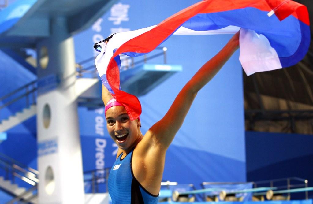 (140822) -- Nanjing, Aug 22,2014 (Xinhua) -- Rozaliya Nasretdinova of Russian Federation celebrates after wining the Women's 50m Freestyle competition of Nanjing 2014 Youth Olympic Games in Nanjing, capital of east China?s Jiangsu Province, on August 22, 2014. (Xinhua/Ding Xu) (lyq)