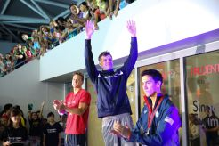 Swimming - Prudential Singapore Swim Stars 2014 - OCBC Aquatic Centre, Singapore Sports Hub, Singapore - 5/9/14 Men's 100m Backstroke - David Plummer of USA (C) celebrates his win with second placed Ashley Delaney of Australia (L) and third placed Eugene Godsoe of USA Mandatory Credit: Action Images / Norman Ng Livepic EDITORIAL USE ONLY.