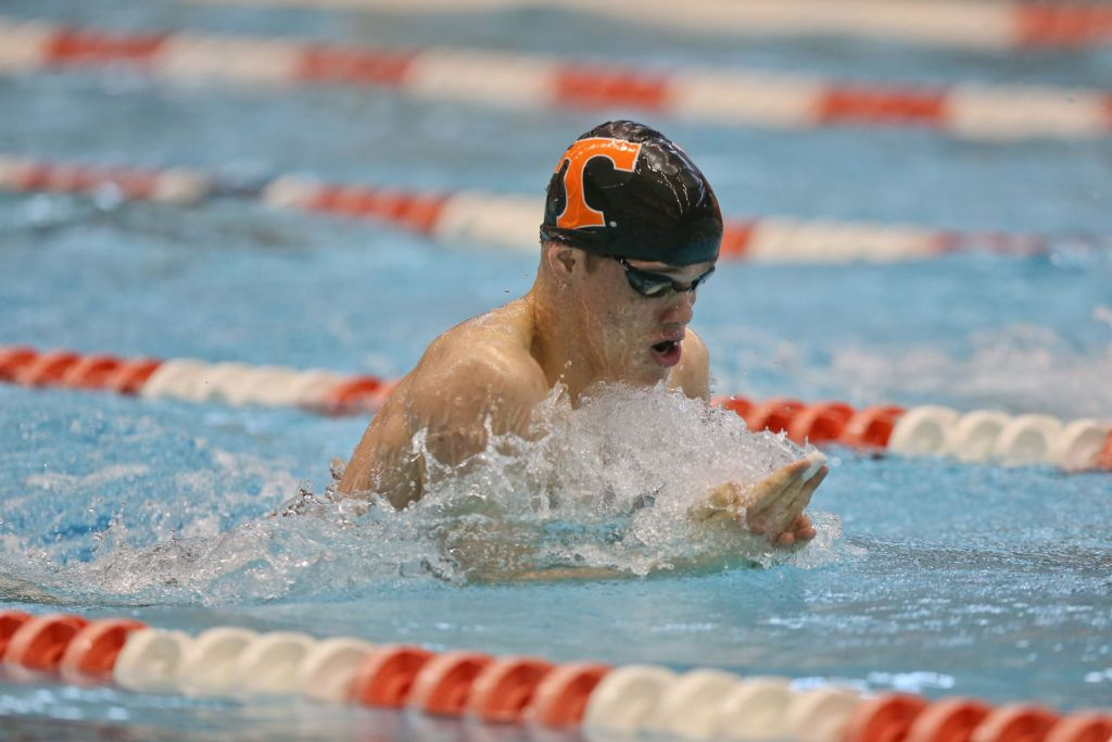 KNOXVILLE, TN - January 24, 2015: Peter John Stevens of the Tennessee Volunteers Swimming and Diving Team during SEC meet between the University of Tennessee Volunteers and The Georgia Bulldogs at Allan Jones Aquatic Center in Knoxville, TN. Photo By Matthew S. DeMaria/Tennessee Athletics