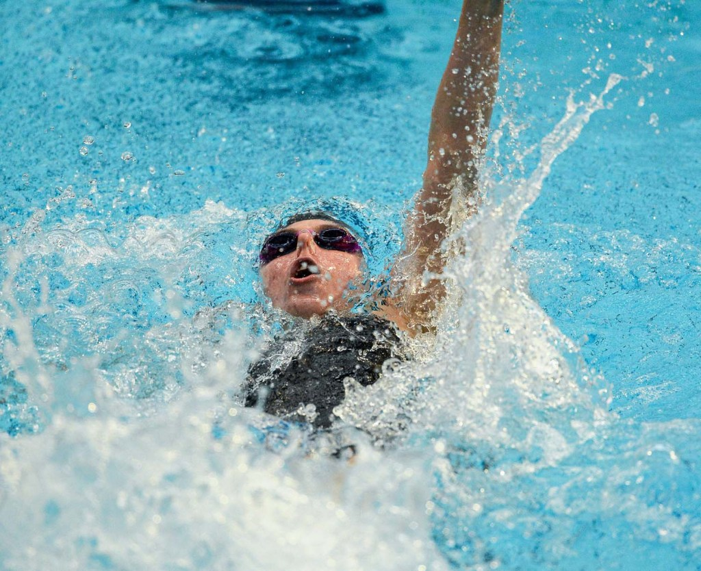 1 May 2015; Lucie Nordmann, NCSA, on her way to winning the women's 100m Backstroke event during the 2015 Irish Open Swimming Championships at the National Aquatic Centre, Abbotstown, Dublin. Picture credit: Paul Mohan / SPORTSFILE