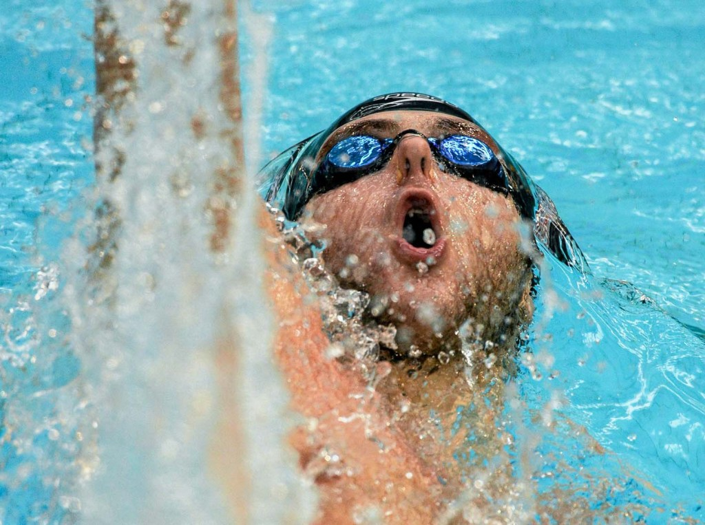 1 May 2015; Michael Taylor, NCSA, on his way to winning the men's 100m backstroke event during the 2015 Irish Open Swimming Championships at the National Aquatic Centre, Abbotstown, Dublin. Picture credit: Paul Mohan / SPORTSFILE