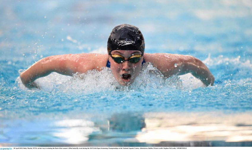 30 April 2015; Ruby Martin, NCSA, on her way to winning the final of the women's 200m butterfly event during the 2015 Irish Open Swimming Championships at the National Aquatic Centre, Abbotstown, Dublin. Picture credit: Stephen McCarthy / SPORTSFILE