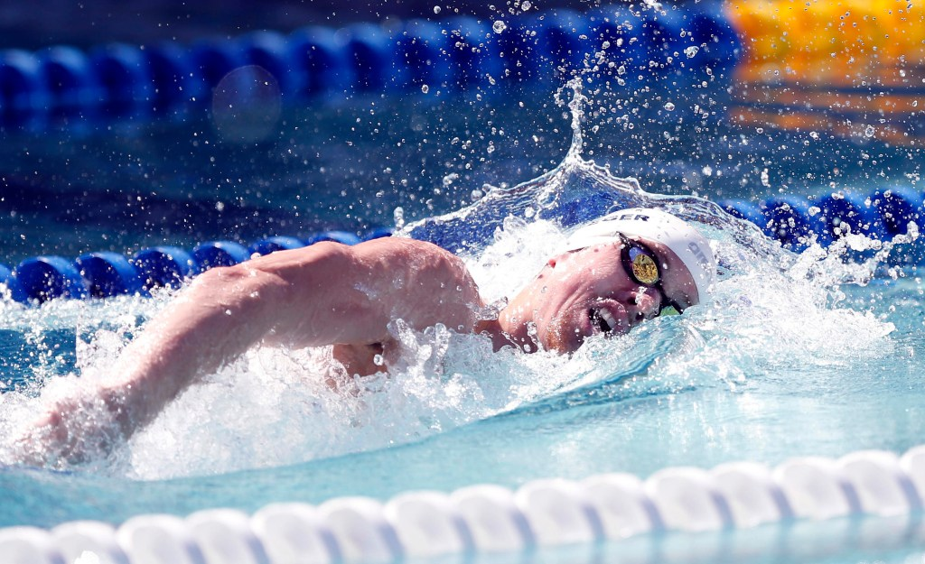 Jun 18, 2015; Santa Clara, CA, USA; Connor Jaeger (USA) places second in the men's 800M freestyle championship final during day one of the Arena Pro Series at Santa Clara at the George F. Haines International Swim Center. Mandatory Credit: Bob Stanton-USA TODAY Sports