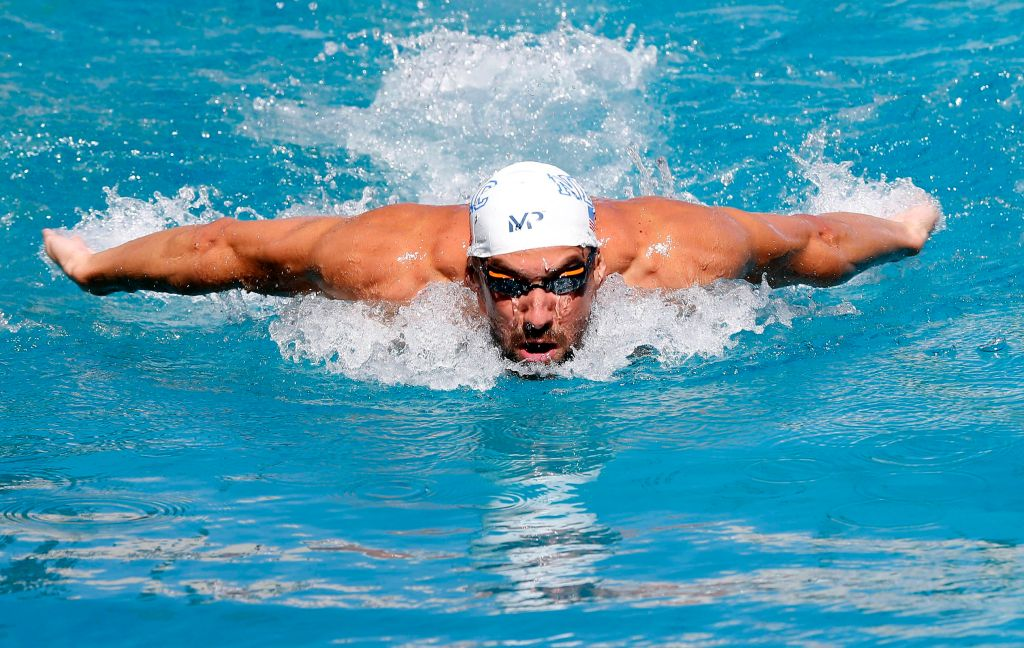 Jun 21, 2015; Santa Clara, CA, USA; Michael Phelps (USA) warms up before the Championship Finals of day four at the George F. Haines International Swim Center. Mandatory Credit: Bob Stanton-USA TODAY Sports