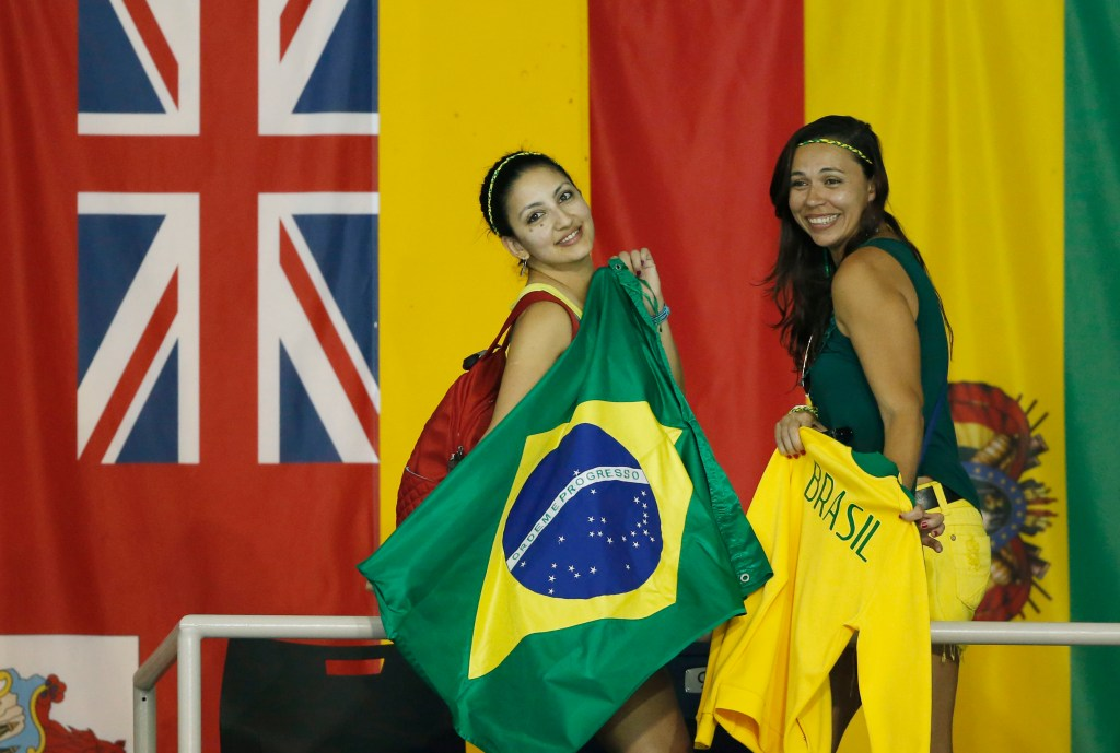 Jul 18, 2015; Toronto, Ontario, CAN; Fans of Brazil cheer during the swimming competition during the 2015 Pan Am Games at Pan Am Aquatics UTS Centre and Field House. Mandatory Credit: Erich Schlegel-USA TODAY Sports