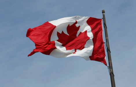 Jul 9, 2015; Toronto, Ontario, Canada; General view of a Canadian flag in preparation for the 2015 Pan Am Games. Mandatory Credit: Rob Schumacher-USA TODAY Sports
