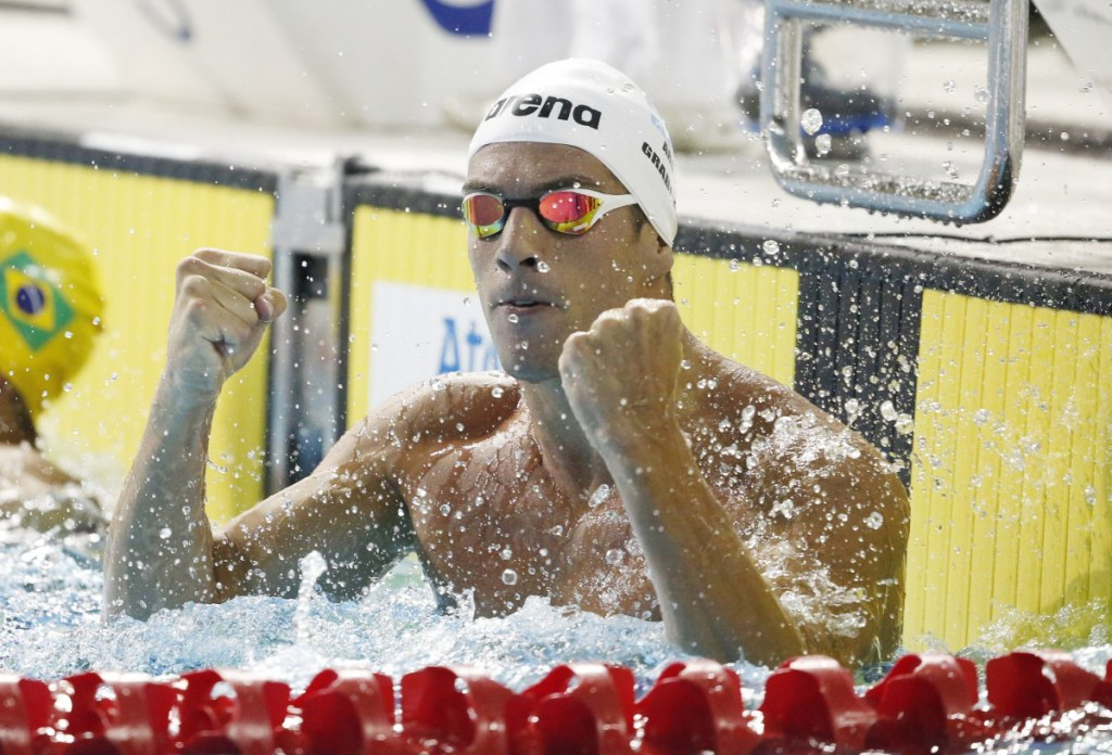 Jul 14, 2015; Toronto, Ontario, CAN; Federico Grabich of Argentina celebrates after winning the men's 100m freestyle swimming final during the 2015 Pan Am Games at Pan Am Aquatics UTS Centre and Field House. Mandatory Credit: Erich Schlegel-USA TODAY Sports