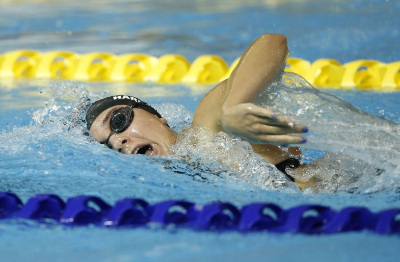 Jul 18, 2015; Toronto, Ontario, CAN; Courtney Harnish of the United States competes in the women's swimming 800m freestyle final during the 2015 Pan Am Games at Pan Am Aquatics UTS Centre and Field House. Mandatory Credit: Erich Schlegel-USA TODAY Sports