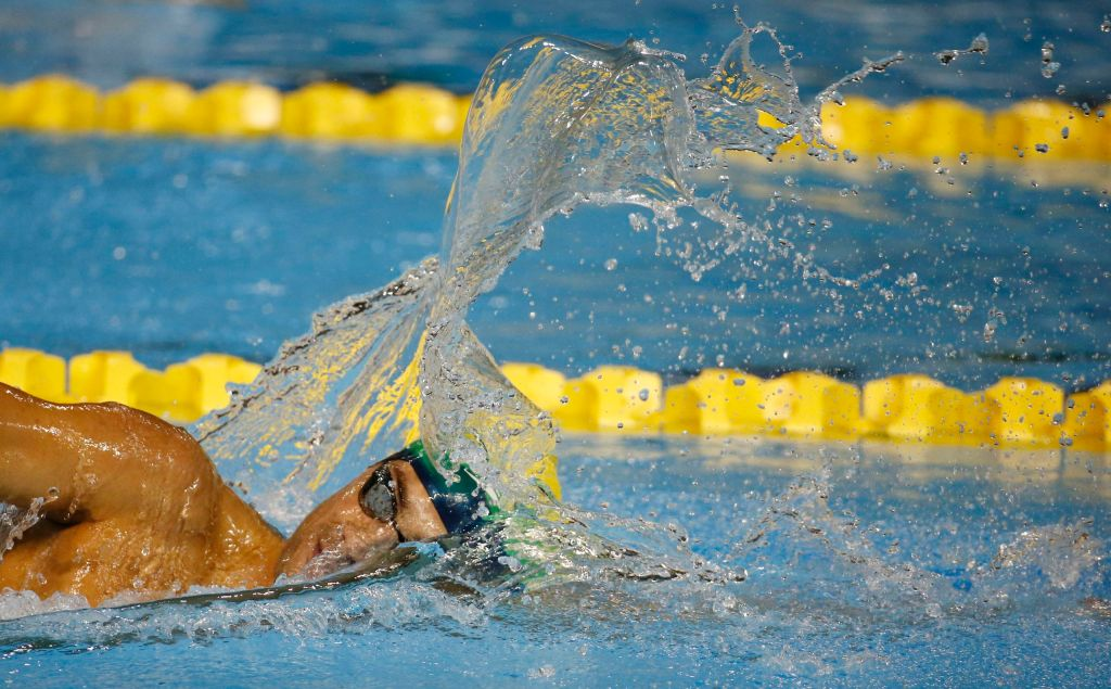 Jul 17, 2015; Toronto, Ontario, CAN; Leonardo De Deus of Brazil competes in the men's swimming 400m freestyle preliminary heats during the 2015 Pan Am Games at Pan Am Aquatics UTS Centre and Field House. Mandatory Credit: Rob Schumacher-USA TODAY Sports