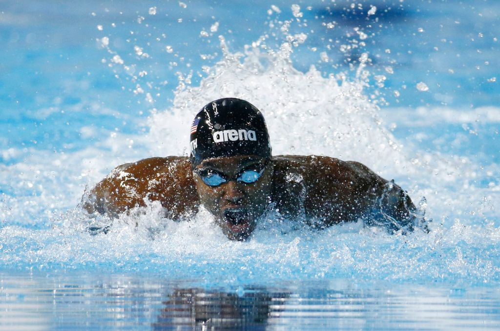 Jul 16, 2015; Toronto, Ontario, CAN; Giles Smith of the United States competes in the men's swimming 100m butterfly final during the 2015 Pan Am Games at Pan Am Aquatics UTS Centre and Field House. Mandatory Credit: Rob Schumacher-USA TODAY Sports