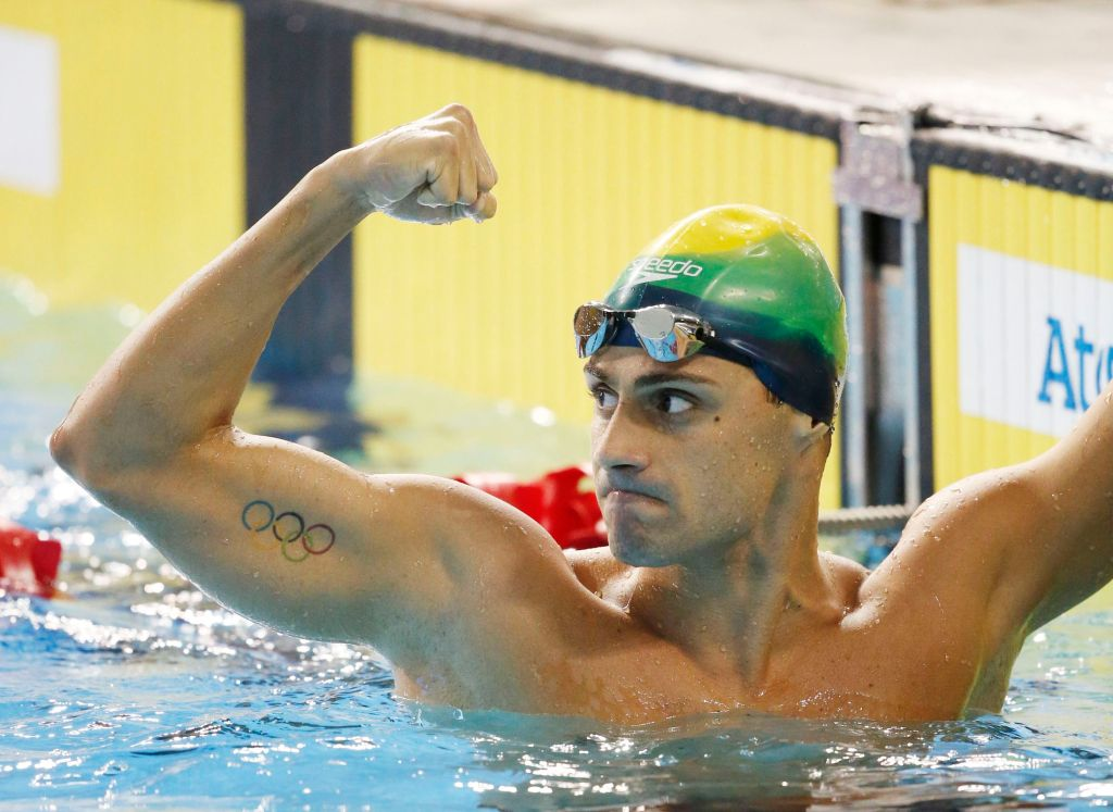 Jul 14, 2015; Toronto, Ontario, CAN; Leonardo De Deus of Brazil celebrates after winning in the men's 200m butterfly swimming final during the 2015 Pan Am Games at Pan Am Aquatics UTS Centre and Field House. Mandatory Credit: Erich Schlegel-USA TODAY Sports