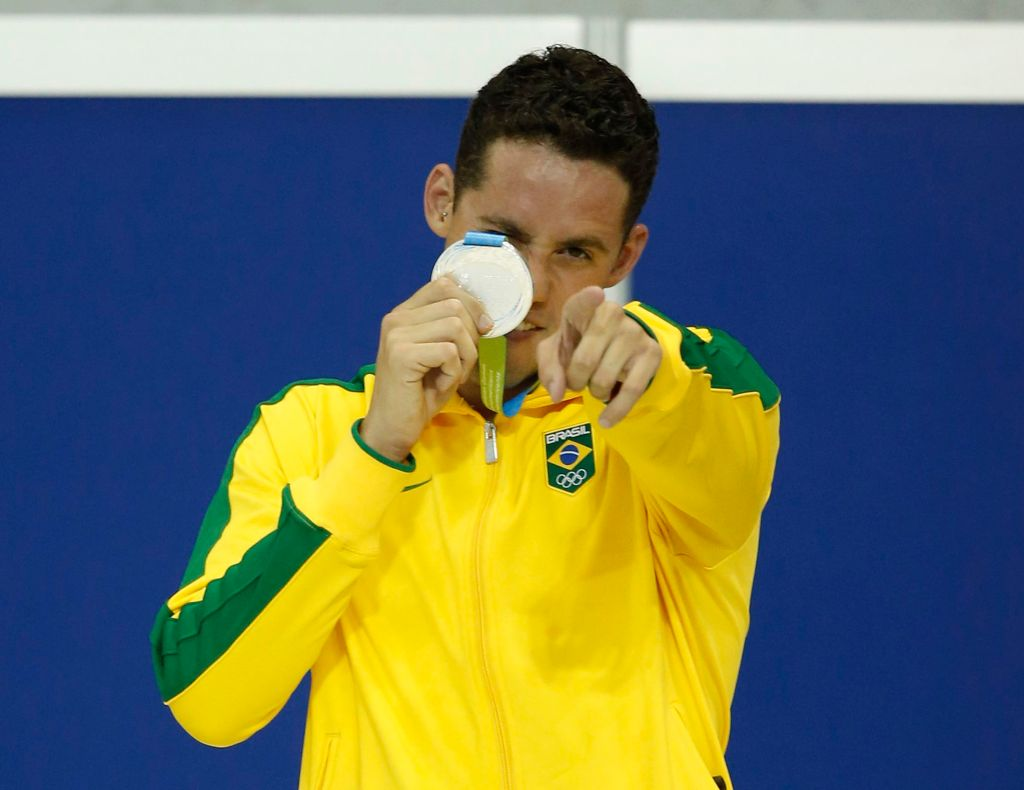 Jul 18, 2015; Toronto, Ontario, CAN; Thiago Pereira of Brazil poses with his silver medal after the men's swimming 200m individual medley final during the 2015 Pan Am Games at Pan Am Aquatics UTS Centre and Field House. Mandatory Credit: Erich Schlegel-USA TODAY Sports