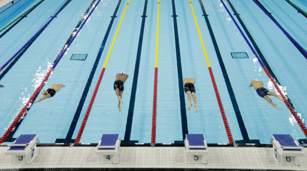 Jul 17, 2015; Toronto, Ontario, CAN; A general view of the start of a men's 50m freestyle preliminary heats during the 2015 Pan Am Games at Pan Am Aquatics UTS Centre and Field House. Mandatory Credit: Erich Schlegel-USA TODAY Sports