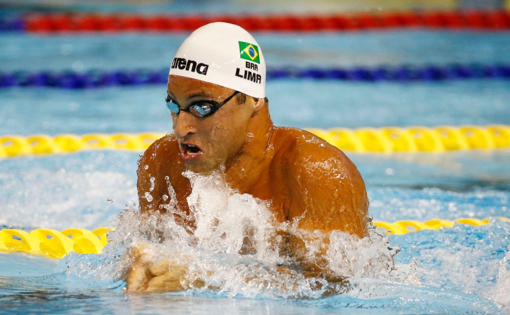 Jul 17, 2015; Toronto, Ontario, CAN; Felipe Lima of Brazil in the men's swimming 100m breaststroke preliminary heats during the 2015 Pan Am Games at Pan Am Aquatics UTS Centre and Field House. Mandatory Credit: Rob Schumacher-USA TODAY Sports
