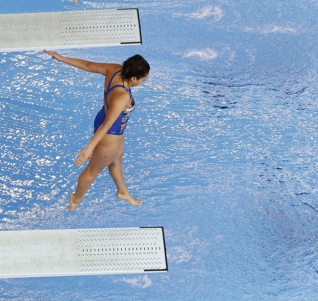 Jul 13, 2015; Toronto, Ontario, USA; Wendy Esquivel and Paula Sotomayor of Chile compete in the women's synchronised diving 3m springboard final the 2015 Pan Am Games at Pan Am Aquatics UTS Centre and Field House. Mandatory Credit: Rob Schumacher-USA TODAY Sports