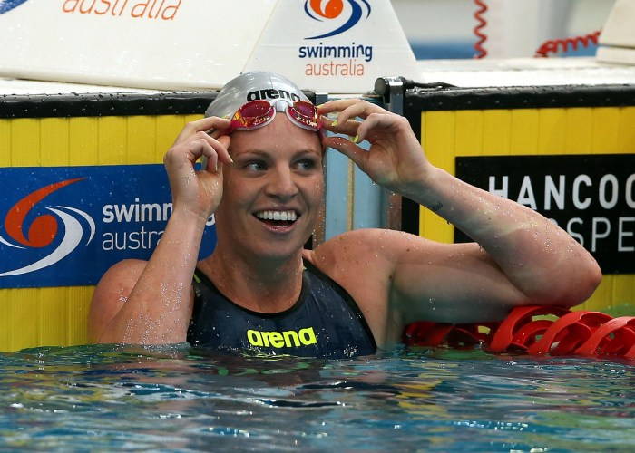 Emily Seebohm in the womens 50m Backstroke Semi Final. Australian Swimming Championships. Sport Swimming. SOPAC. 7 April 2015. Photo by Paul Seiser/SPA Images