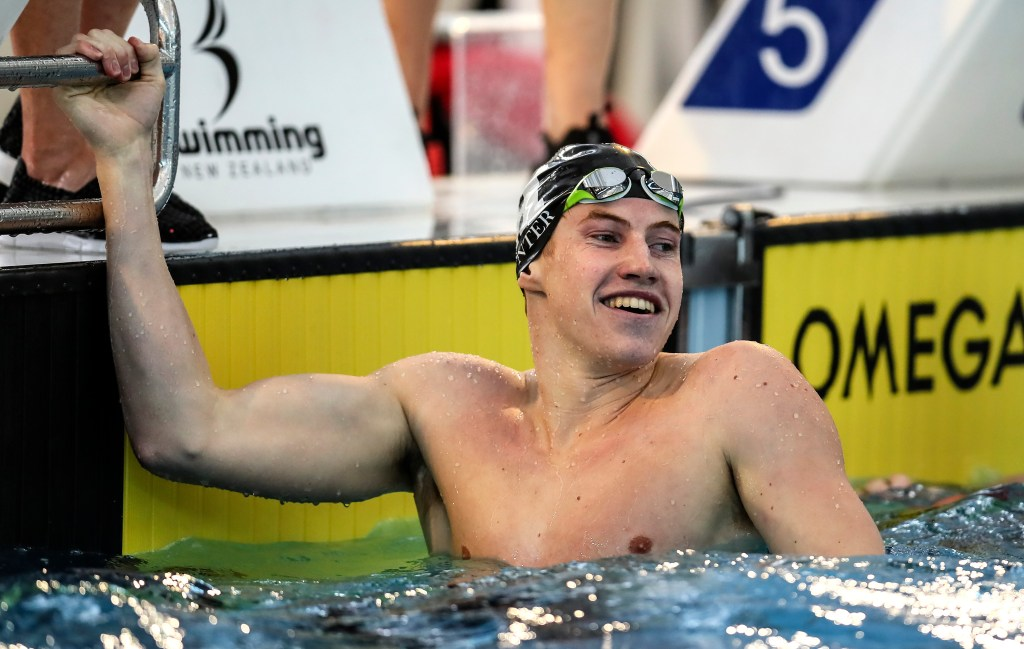 Daniel Hunter celebrates qualifying for the Short Course World Champs, 200m Free, during the Swimming NZ, National Short Course Championships, Owen Glenn Noational Aquatic Center, Auckland, New Zealand, Sunday 2 October 2016. Photo: Simon Watts/www.bwmedia.co.nz