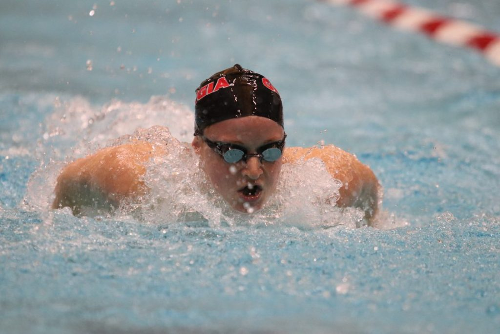 during the Bulldogs' swim meet against Florida at Gabrielsen Natatorium in Athens, Ga., on October 28, 2016. (Photo by Cory A. Cole)