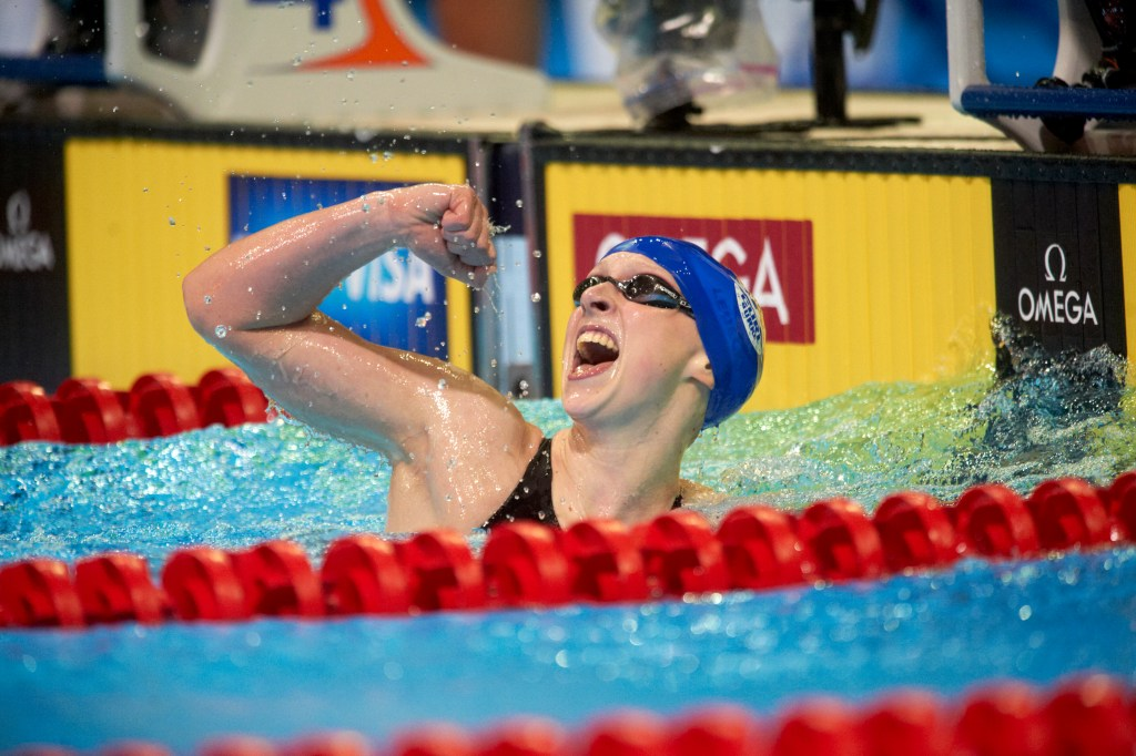 Swimming: US Olympic Trials: Kathleen Ledecky victorious after winning Women's 800M Freestyle Final at CenturyLink Center. Omaha, NE 7/1/2012 CREDIT: Heinz Kluetmeier (Photo by Heinz Kluetmeier /Sports Illustrated/Getty Images) (Set Number: X155101 TK4 R1 F39 )