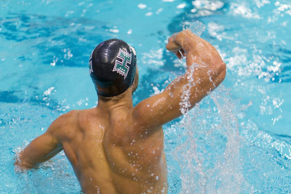 UH swimmer celebrating