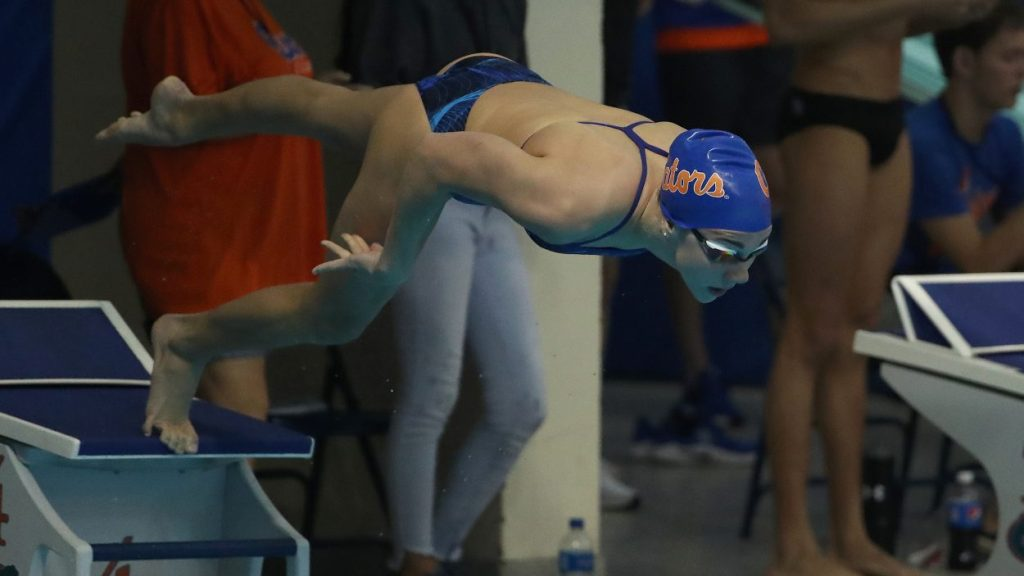 during the Gators' meet against the Kentucky Wildcats and Ohio State Buckeyes on Friday, January 4, 2019 at the Stephen C. O'Connell Center Natatorium in Gainesville, FL / UAA Communications photo by Tim Casey