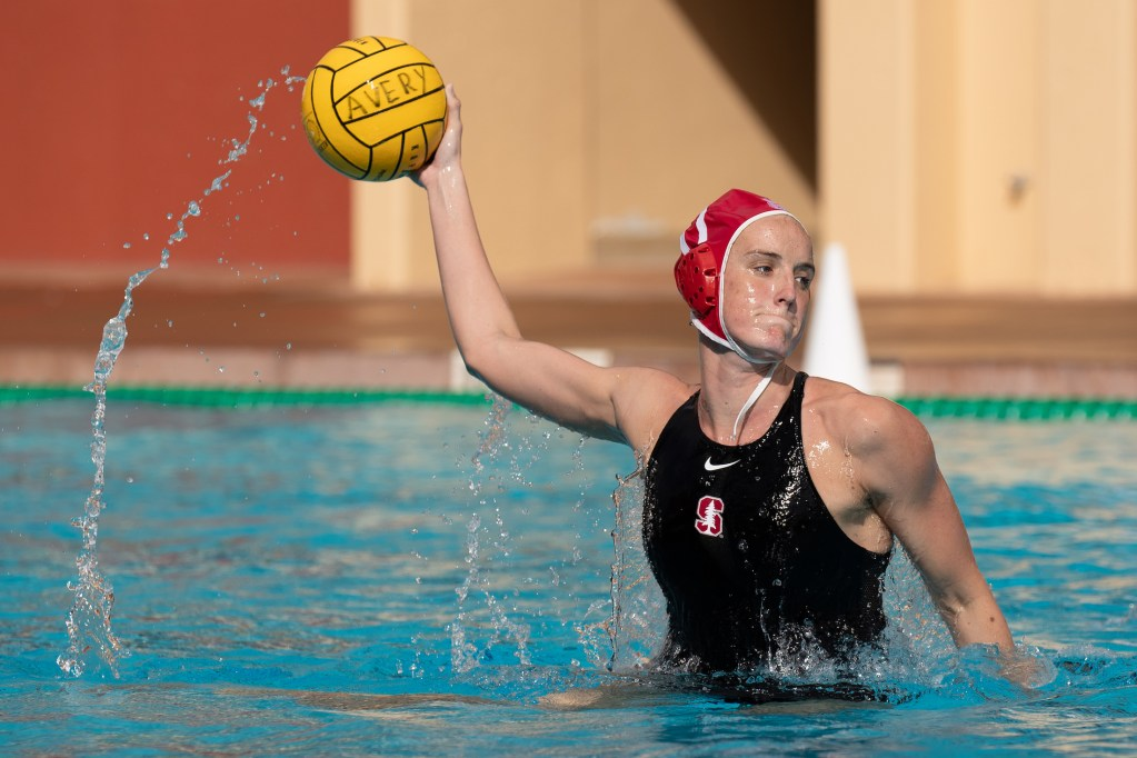 February 3, 2019; Avery Aquatic Center, Palo Alto, CA, USA; Collegiate Women's Water Polo: California Golden Bears vs Stanford Cardinals; Stanford Cardinal Driver Makenzie Fischer Photo credit: Catharyn Hayne