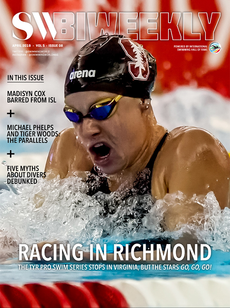 SW Biweekly 4-21-19 Cover April 2019 TYR Pro Swim Series Richmond Madisyn Cox Maggie Steffens Michael Phelps