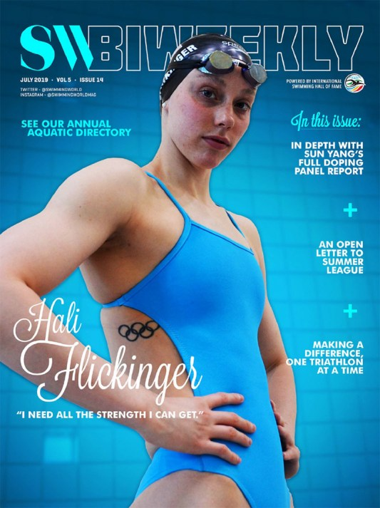 Swimming World Biweekly 7-21-19 Cover Hali Flickering