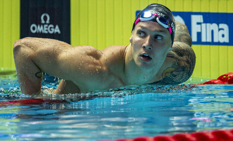 Caeleb Dressel of the United States of America (USA) reacts after winning in the men's 50m Freestyle Final during the Swimming events at the Gwangju 2019 FINA World Championships, Gwangju, South Korea, 27 July 2019.