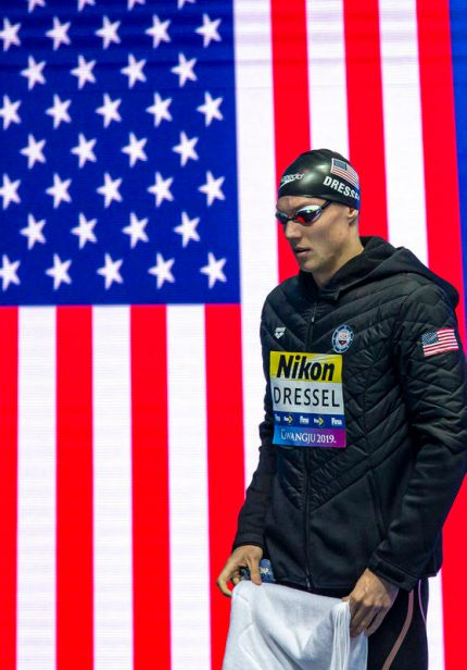 Caeleb Dressel of the United States of America (USA) walks in before competing in the men's 50m Freestyle Semifinal during the Swimming events at the Gwangju 2019 FINA World Championships, Gwangju, South Korea, 26 July 2019.