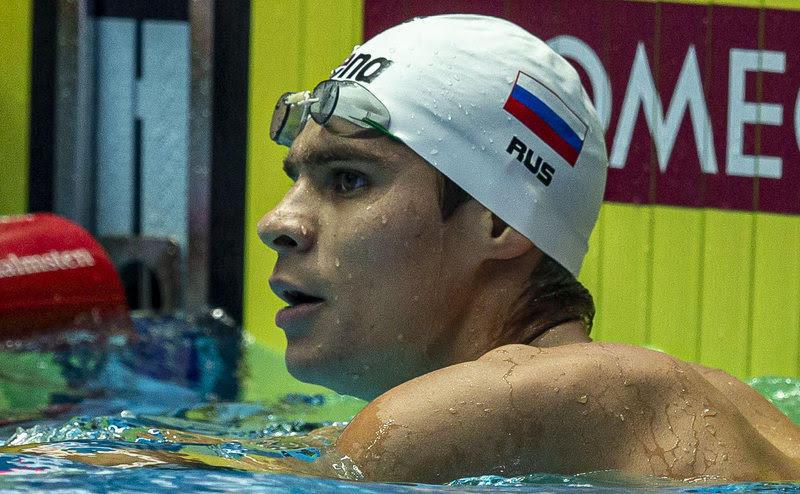Evgeny Rylov of Russia celebrates after winning in the men's 200m Backstroke Final during the Swimming events at the Gwangju 2019 FINA World Championships, Gwangju, South Korea, 26 July 2019.