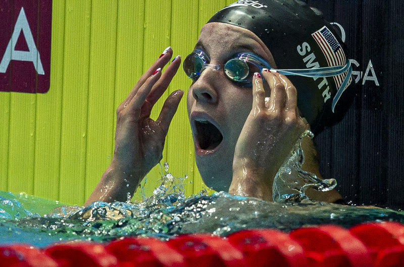 Regan Smith of the United States of America (USA) celebrates a New World Record after competing in the women's 200m Backstroke Semifinal during the Swimming events at the Gwangju 2019 FINA World Championships, Gwangju, South Korea, 26 July 2019.