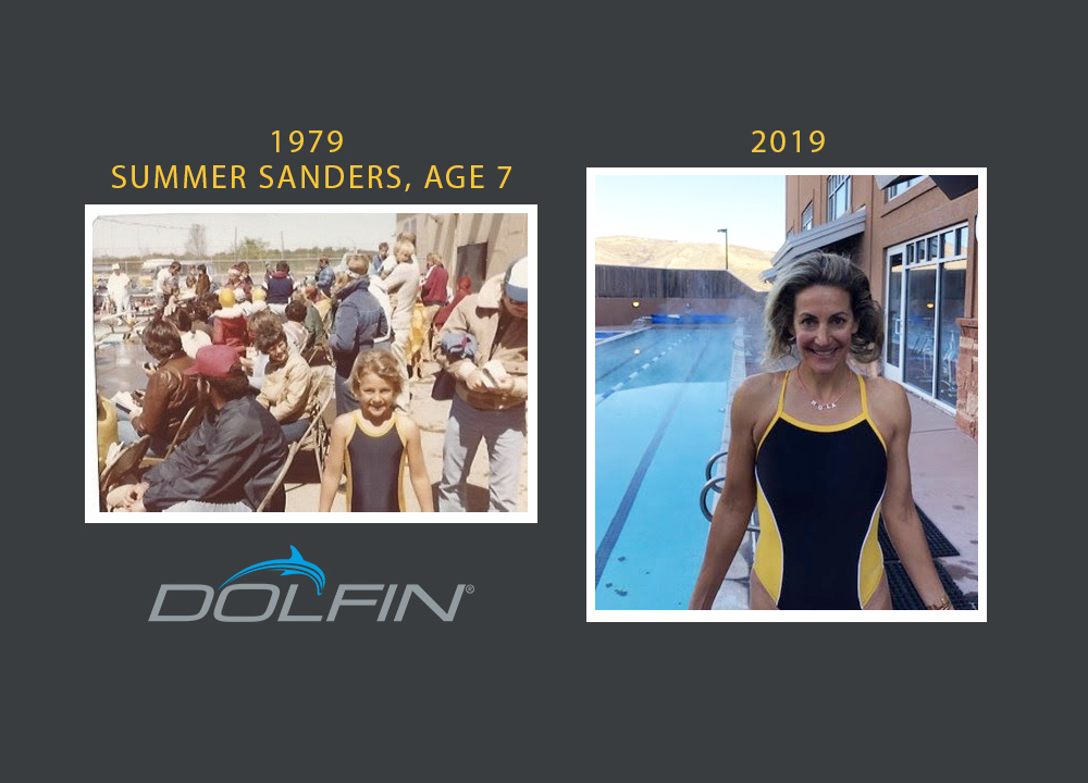 Summer Sanders in Dolfin at age 7 and today