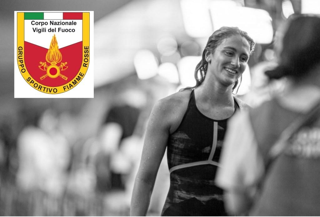 Simona Quadarella - and the emblem of the Fiamme Rosse firefighters sports team - main photo - courtesy: Becca Wyant simonaquadarellabeccawyantfiammerosse
